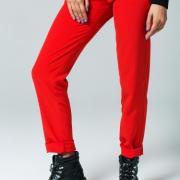 Женские брюки с декорированными карманами красные фото
