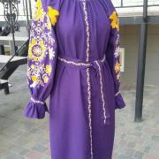 Женское вышитое платье Фиалка купить