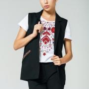Женский черный жилет с декоративной вышивкой фото
