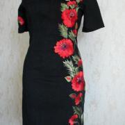 """Платье вышиванка с коротким рукавом """"Красные маки"""" фото Крестик Киев"""