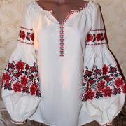 """Женская блузка с вышивкой """"Маковка"""" Фото Крестик Киев"""