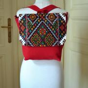 Красный рюкзак-трансформер ручной вышивки киев