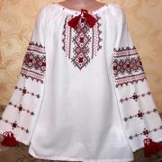 Дитяча вишита сорочка червоні ромби фото
