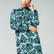 Женское принтованое платье с цветами мятное фото