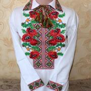 """Детская вышиванка  """"Украинские маки"""" фото"""