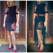 """Чорна сукня з вишивкою """"Чарівність"""" фото"""