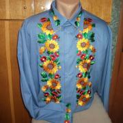 "Чоловіча вишиванка ""Соняшники на синьому"" фото"