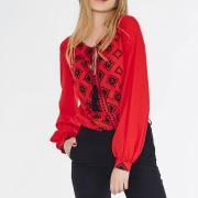Червона блуза з орнаментом під замовлення