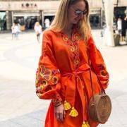 """Яскраве плаття бохо на льоні """"Апельсин"""" фото"""
