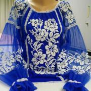 """Стильная синяя блуза из евро сетки """"Мелоди"""" фото"""