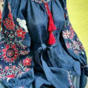 Женская вышитая блузка Бохо синяя фото