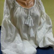 Блузка из льна белым по белому фото
