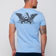 ФотоГолубая мужская футболка украинская с козаком на спине