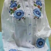 """Элегантная женская рубашка """"Голубые цветы"""" фото"""