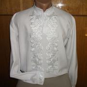 Мужская вышиванка белым шелком купить Киев