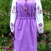 """Вышитое украинское платье """"Фиалки"""" купить"""