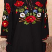 ФотоЧерная вышитая вручную рубашка Огни ночи