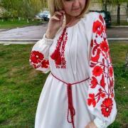 Женское вышитое платье с цветочным орнаментом купить