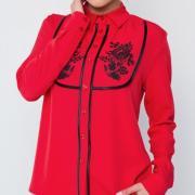 """Блуза в українському стилі червона """"Петриківка"""" фото"""