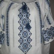"""Женская вышитая рубашка """"Голубые ромбы"""" фото"""