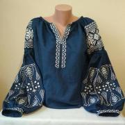 Джинсова вишитая блуза Бохо придбати
