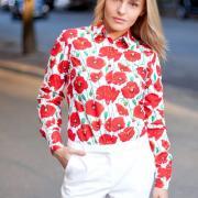 Стильна жіноча блузка з маками купити Київ.