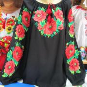 Черная вышиванка с красными маками купить Киев