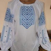 Шифонова блуза жіноча з блакитною вишивкою купити Київ