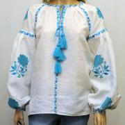 Женская вышиванка Аквамариновые розы фото