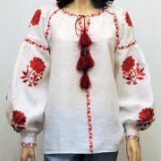 Вышитая женская блузка Красные бохо розы купить