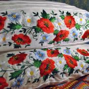 Наволочка с вышитыми маками полевые цветы