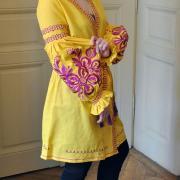 """Женское платье вышиванка бохо на льне """"Лимонная малина"""" фото"""