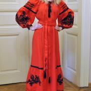 """Вышитое красное платье """"Бохо розмай"""" фото"""