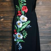 """Вышитое женское платье на шелке """"Фантазия"""" фото"""