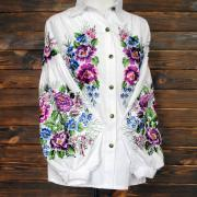 """Женская вышитая блузка """"Цветочный шелк"""" фото"""