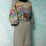"""Украинское платье на льне """"Маковый мотив"""" купить"""