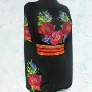 """Черная женская вышиванка на шифоне """"Алые цветы""""  купить в интернет-магазине"""