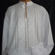 Вышитая мужская сорочка белым по белому купить