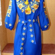 Синє українське плаття з жовтими соняшниками купити Київ