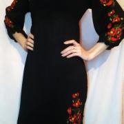 Вишите жіноче чорне шифонове плаття