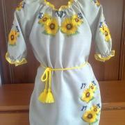 "Дитяча вишита сукня ""Метелики на соняшнику"" фото"