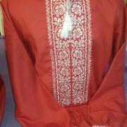 """Красная мужская вышиванка """"Ясный цвет"""" фото Крестик Киев"""