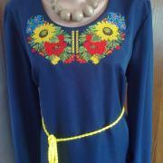 """Вышитое женское платье """"Голубые подсолнухи"""" фото"""