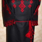 Черное вышитое женское платье с мережками купить Киев