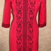 Червоне українське плаття з сокальської вишивкою фото
