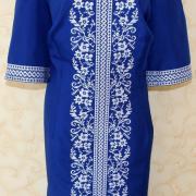 Синє українське плаття з сокальської вишивкою фото
