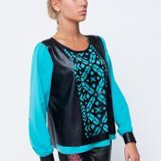Блуза с кожаными вставками купить Украина