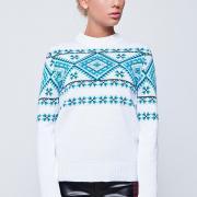 Белый свитер с голубым орнаментом купить Киев