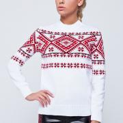 Белый свитер с узором под вышиванку заказать Украина