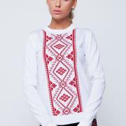 Білий светр з українським орнаментом замовити через інтернет